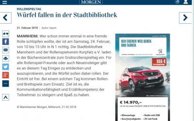 Artikel im Mannheimer Morgen anlässlich des GRT 2018
